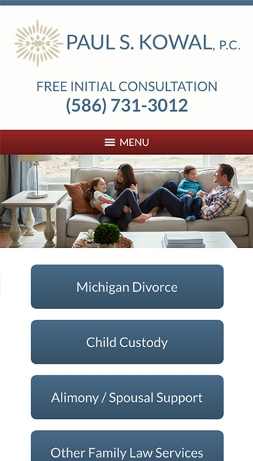 Responsive Mobile Attorney Website for Paul S. Kowal, P.C.