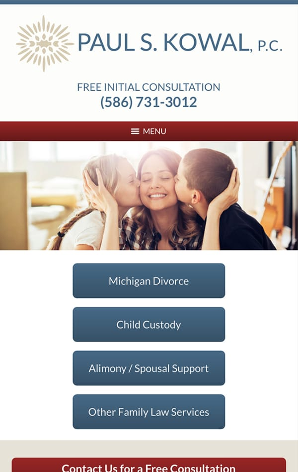 Mobile Friendly Law Firm Webiste for Paul S. Kowal, P.C.