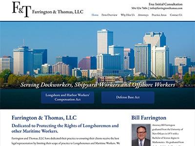 Law Firm Website design for Farrington & Thomas, LLC.