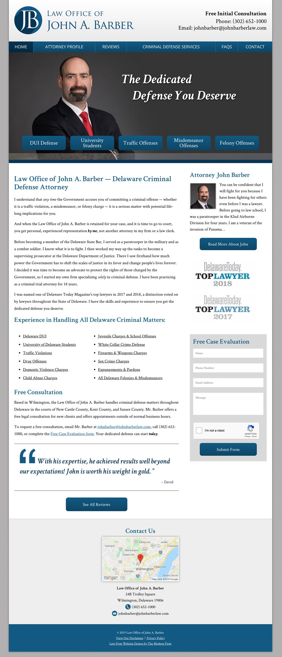 Law Firm Website Design for Law Office of John A. Barber
