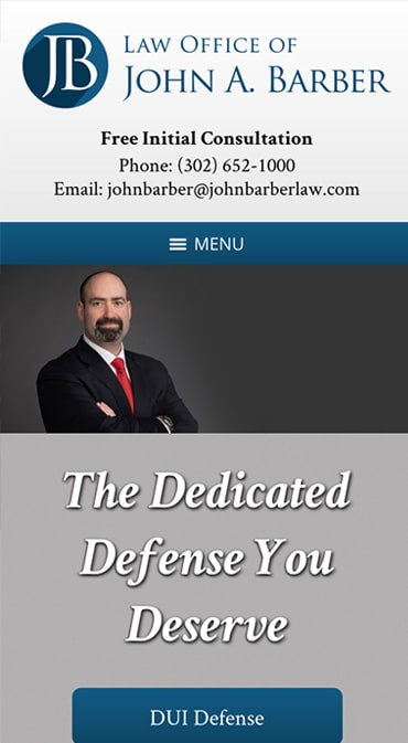 Responsive Mobile Attorney Website for Law Office of John A. Barber