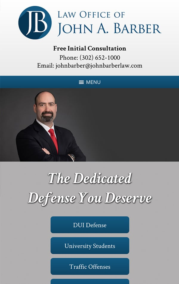 Mobile Friendly Law Firm Webiste for Law Office of John A. Barber