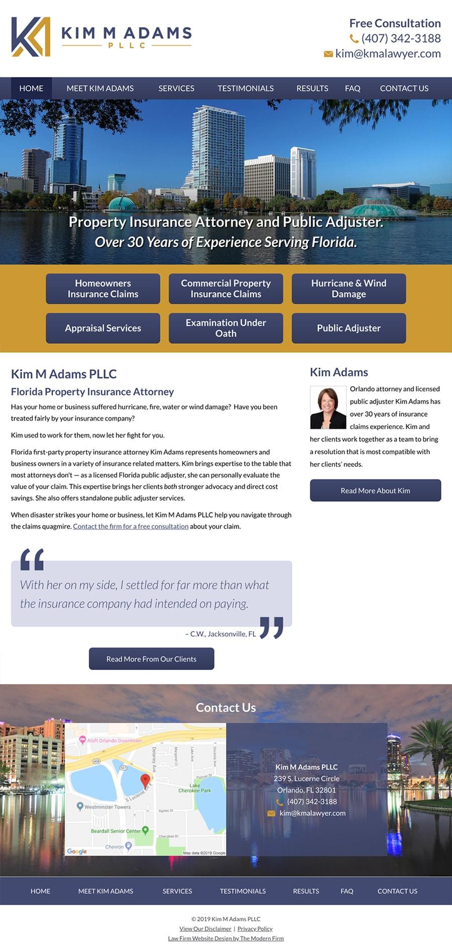 Law Firm Website Design for Kim M Adams PLLC