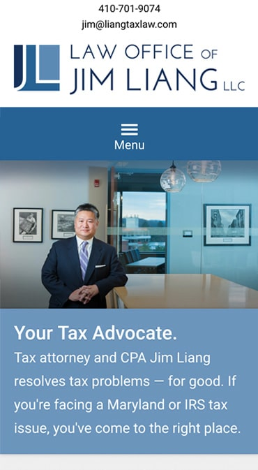 Responsive Mobile Attorney Website for Law Office of Jim Liang, LLC