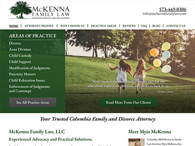 Law Firm Website design for McKenna Family Law, LLC