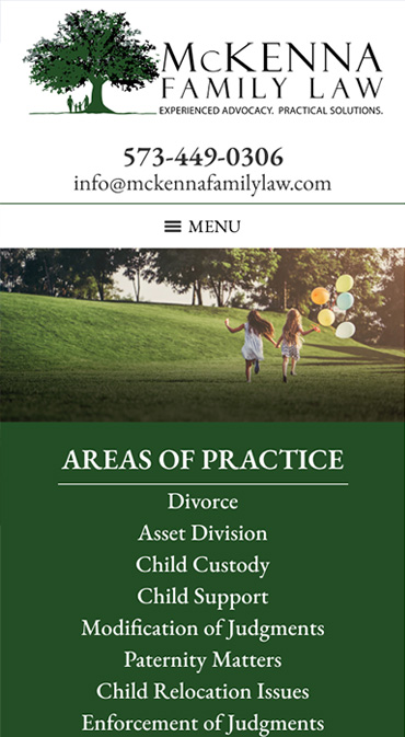 Responsive Mobile Attorney Website for McKenna Family Law, LLC