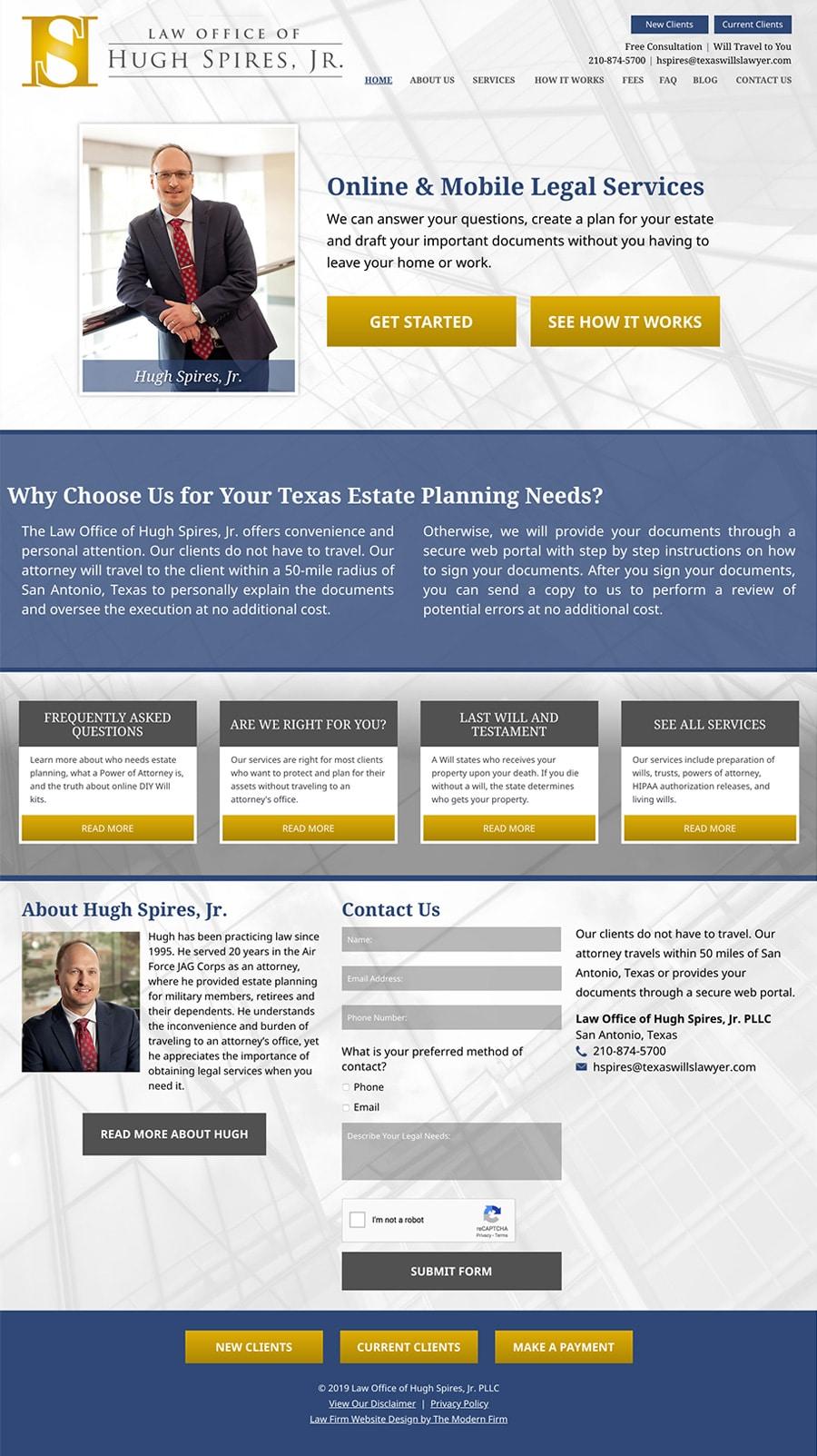 Law Firm Website Design for Law Office of Hugh Spires, Jr. PLLC
