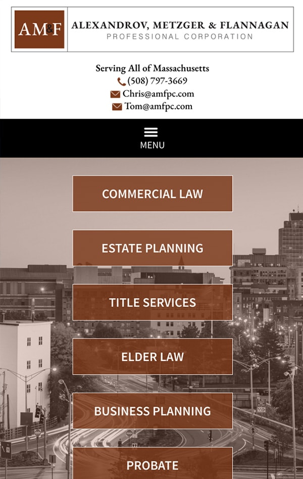 Mobile Friendly Law Firm Webiste for Alexandrov, Metzger & Flannagan