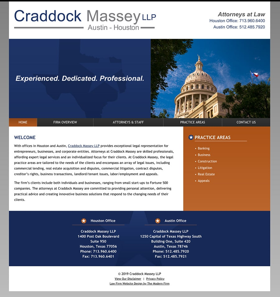 Law Firm Website Design for Craddock Massey LLP