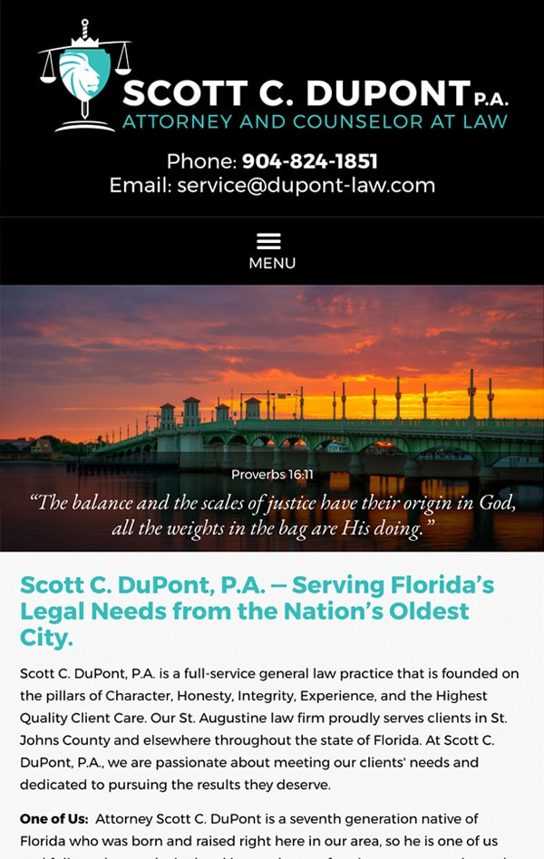 Mobile Friendly Law Firm Webiste for Scott C. DuPont, P.A.