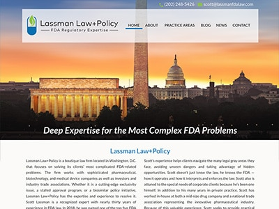Law Firm Website design for Lassman Law+Policy