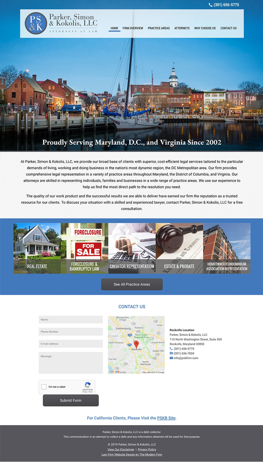 Law Firm Website Design for Parker, Simon & Kokolis, LLC