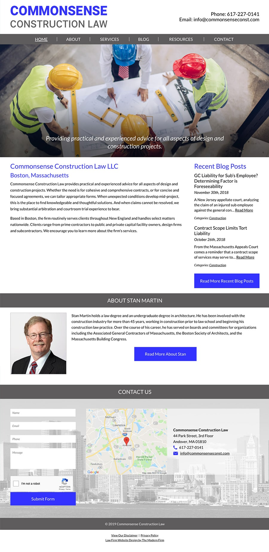 Law Firm Website Design for Commonsense Construction Law