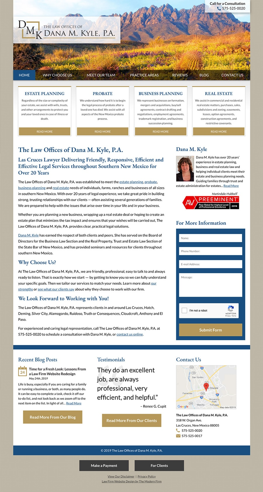 Law Firm Website Design for The Law Offices of Dana M. Kyle, P.A.