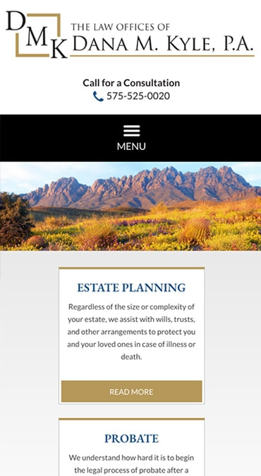Responsive Mobile Attorney Website for The Law Offices of Dana M. Kyle, P.A.