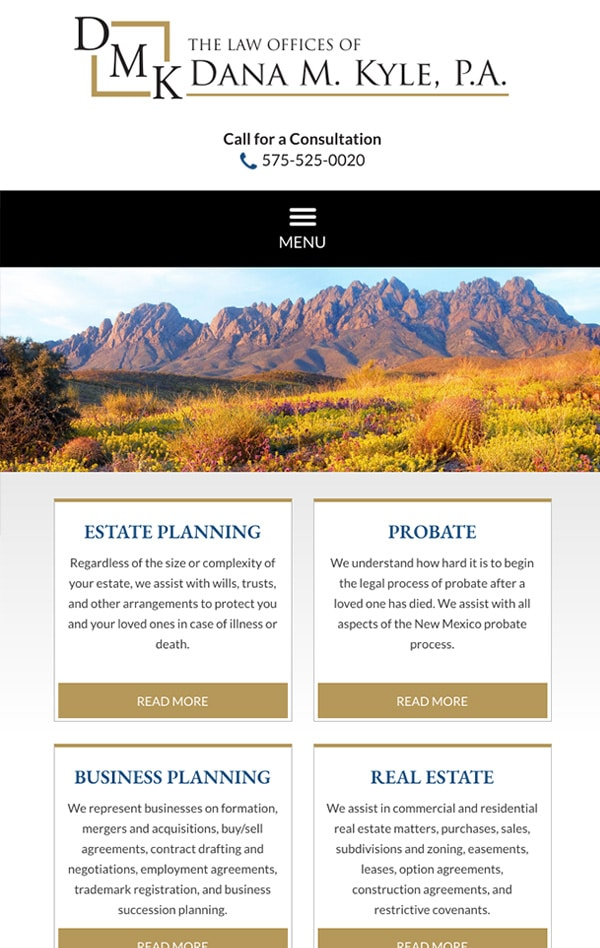 Mobile Friendly Law Firm Webiste for The Law Offices of Dana M. Kyle, P.A.