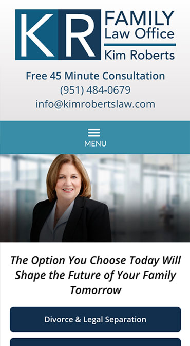 Responsive Mobile Attorney Website for Law Office of Kim Roberts