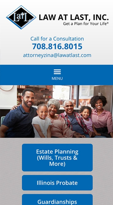 Responsive Mobile Attorney Website for Law at Last, Inc.