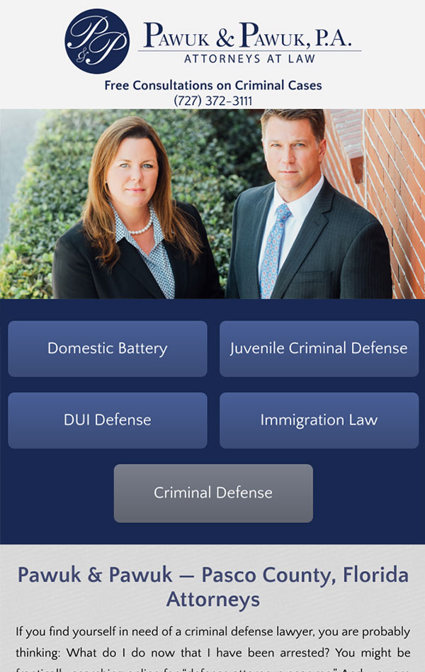 Mobile Friendly Law Firm Webiste for Law Offices of Pawuk & Pawuk