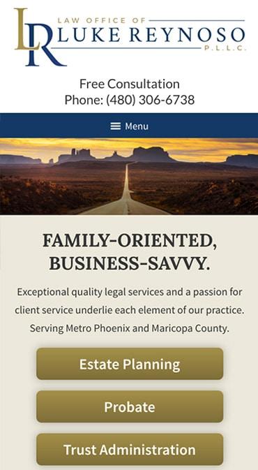Responsive Mobile Attorney Website for Law Office of Luke Reynoso, PLLC