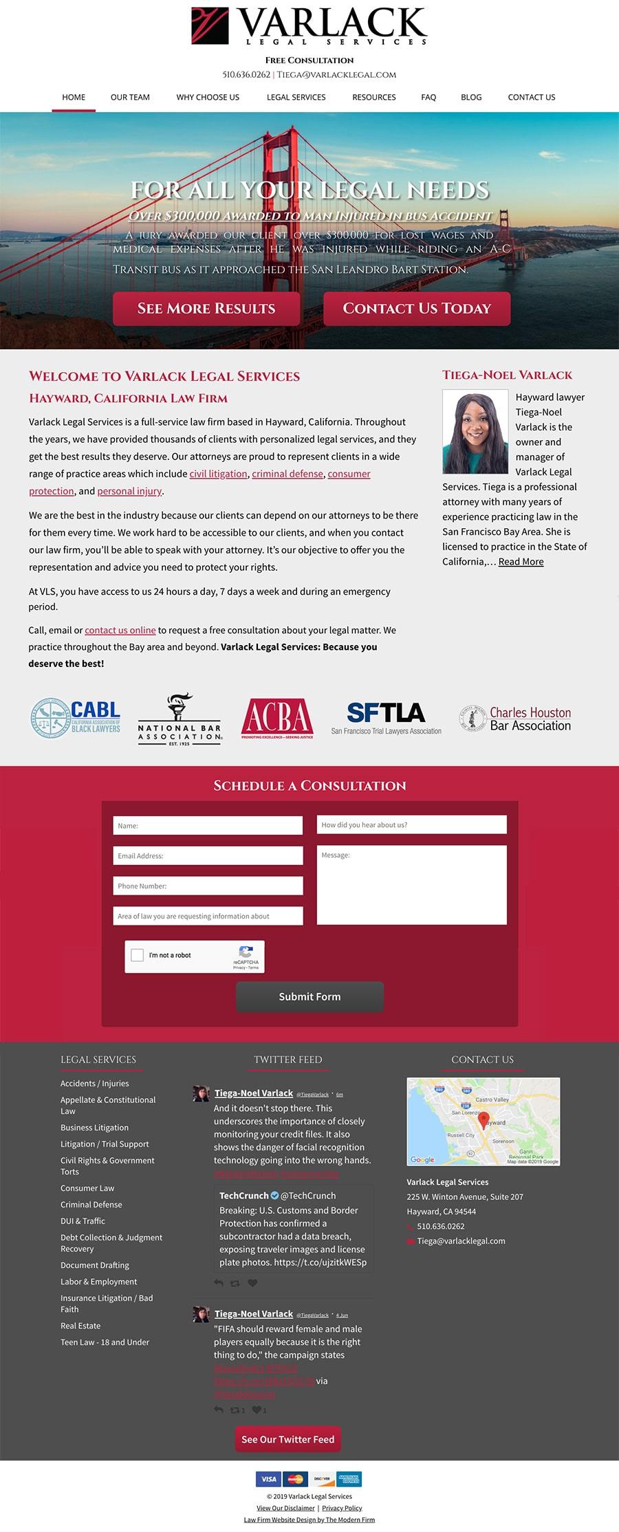 Law Firm Website Design for Varlack Legal Services