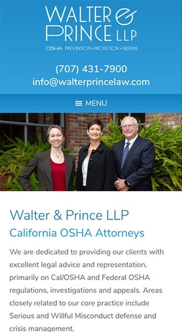 Responsive Mobile Attorney Website for Walter & Prince LLP