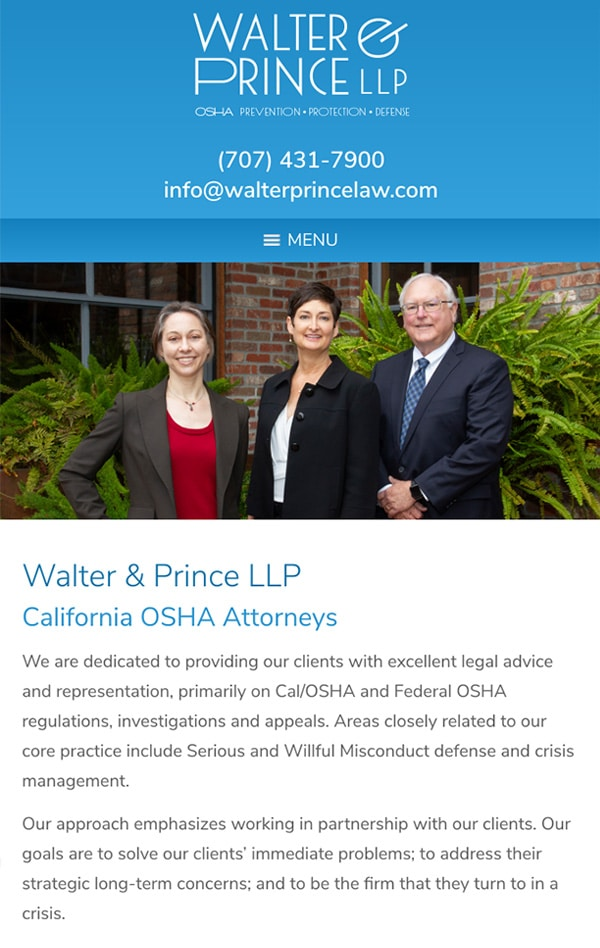 Mobile Friendly Law Firm Webiste for Walter & Prince LLP