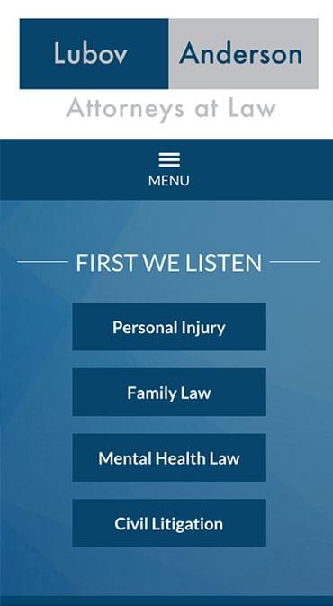 Responsive Mobile Attorney Website for Lubov & Associates, LLC