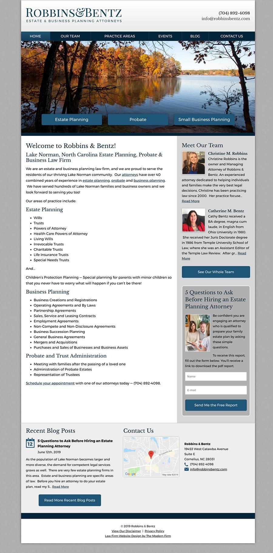 Law Firm Website Design for Robbins & Bentz