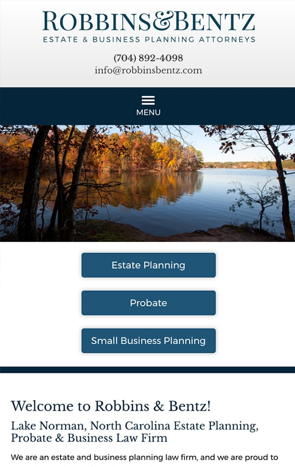 Mobile Friendly Law Firm Webiste for Robbins & Bentz