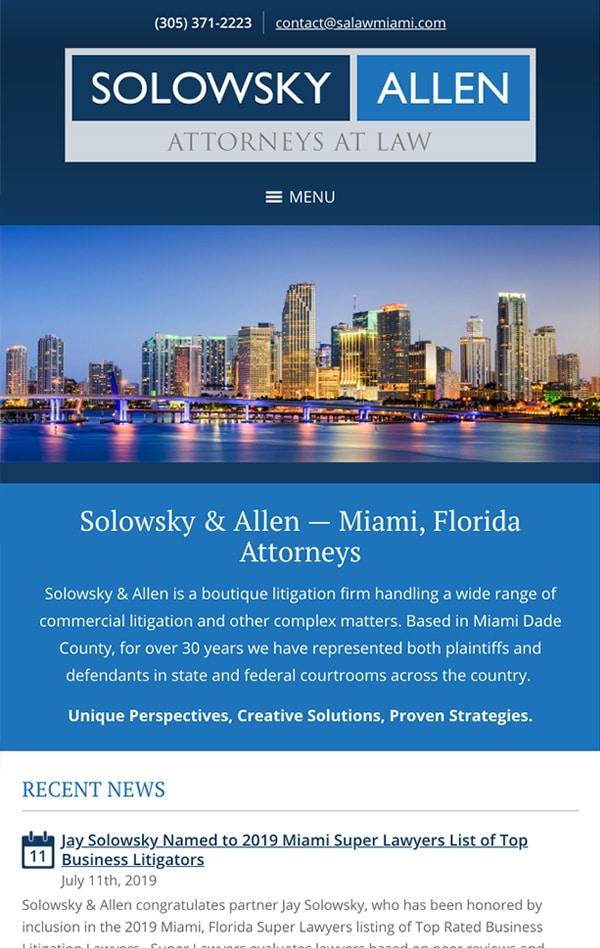 Mobile Friendly Law Firm Webiste for Solowsky & Allen, P.L.