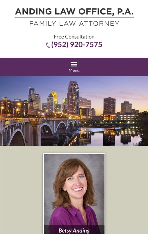 Mobile Friendly Law Firm Webiste for Anding Law Office, P.A.