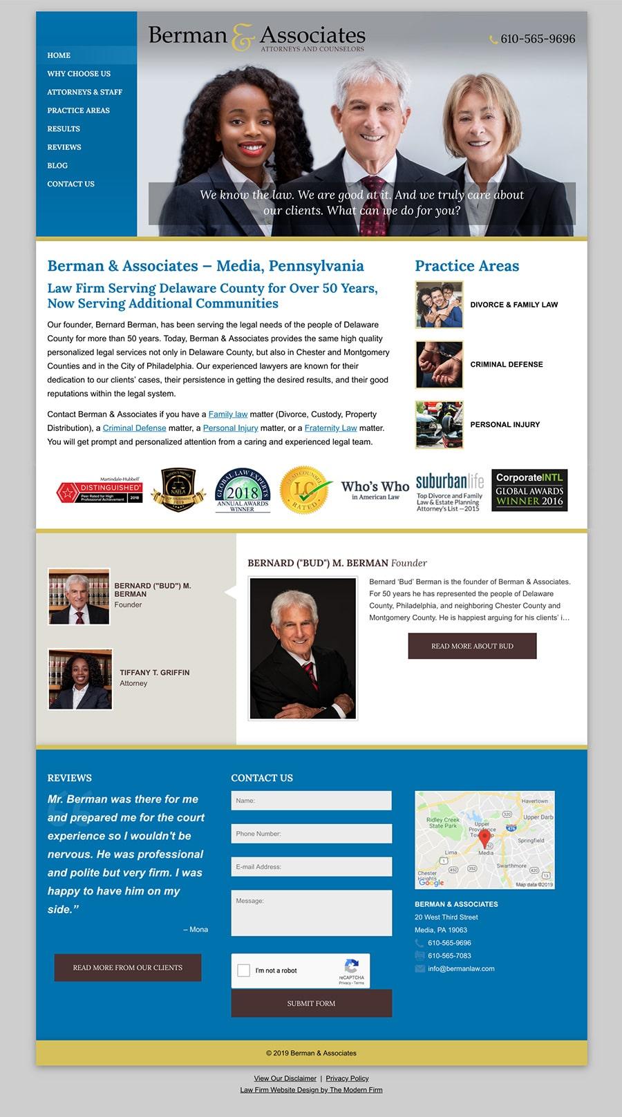 Law Firm Website Design for Berman & Associates