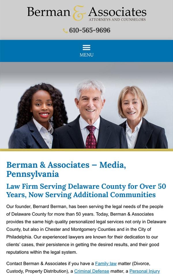 Mobile Friendly Law Firm Webiste for Berman & Associates