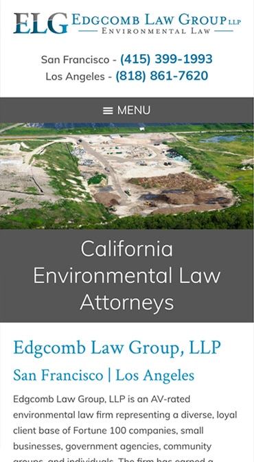 Responsive Mobile Attorney Website for Edgcomb Law Group LLP