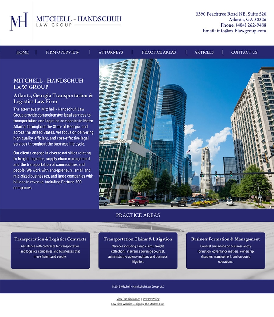 Law Firm Website Design for Mitchell - Handschuh Law Group, LLC
