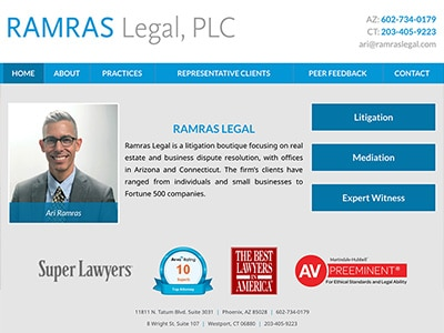Law Firm Website design for Ramras Legal, PLC