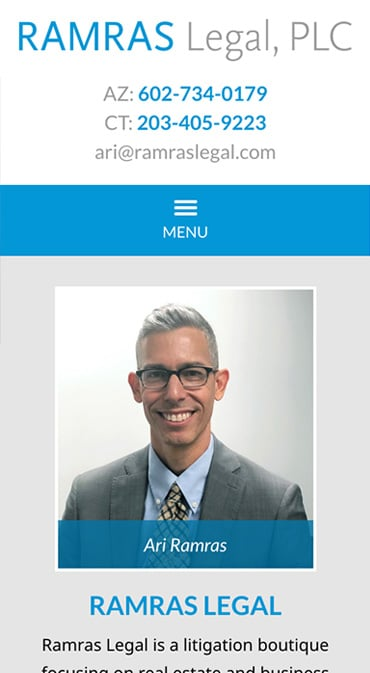 Responsive Mobile Attorney Website for Ramras Legal, PLC