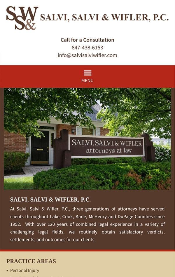 Mobile Friendly Law Firm Webiste for Law Offices of Salvi, Salvi & Wifler, P.C.