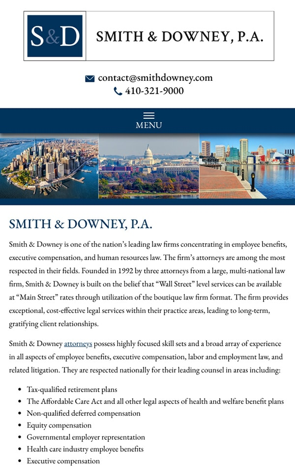 Mobile Friendly Law Firm Webiste for Smith & Downey, P.A.