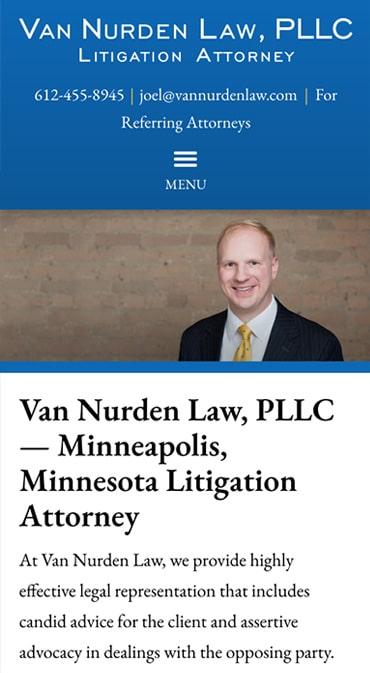 Responsive Mobile Attorney Website for Van Nurden Law, PLLC