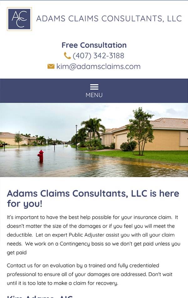 Mobile Friendly Law Firm Webiste for Adams Claims Consultants, LLC