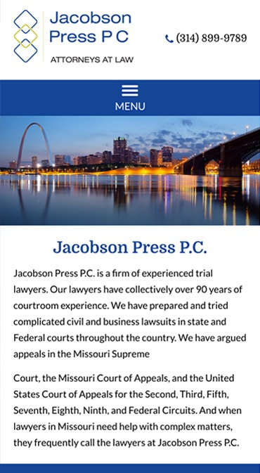 Responsive Mobile Attorney Website for Jacobson Press P.C.