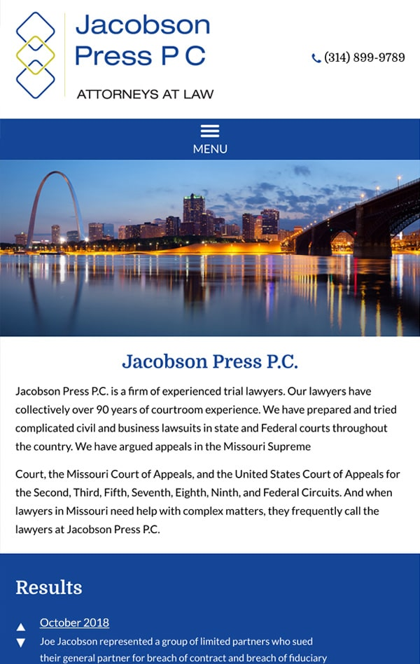 Mobile Friendly Law Firm Webiste for Jacobson Press P.C.
