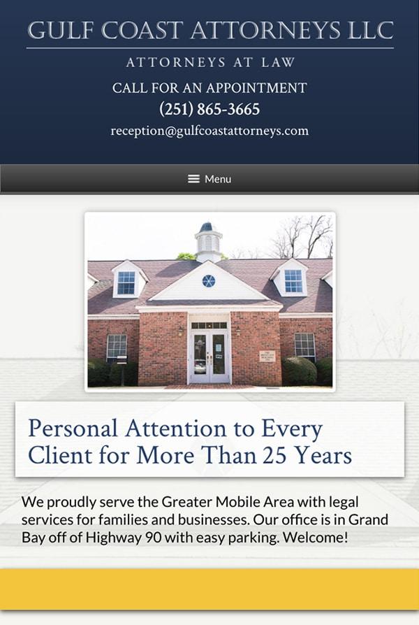 Mobile Friendly Law Firm Webiste for Gulf Coast Attorneys LLC