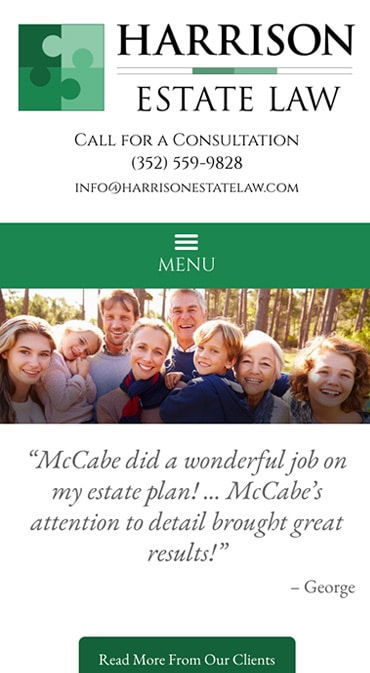Responsive Mobile Attorney Website for Harrison Estate Law, P.A.