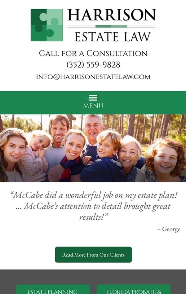 Mobile Friendly Law Firm Webiste for Harrison Estate Law, P.A.