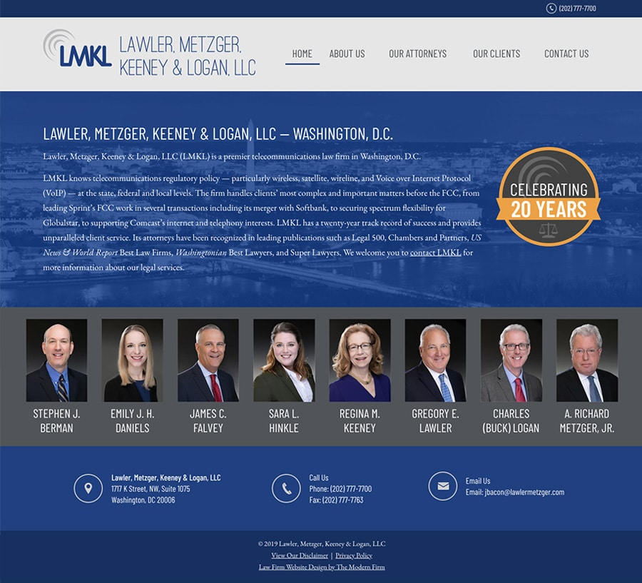 Law Firm Website Design for Lawler, Metzger, Keeney & Logan, LLC