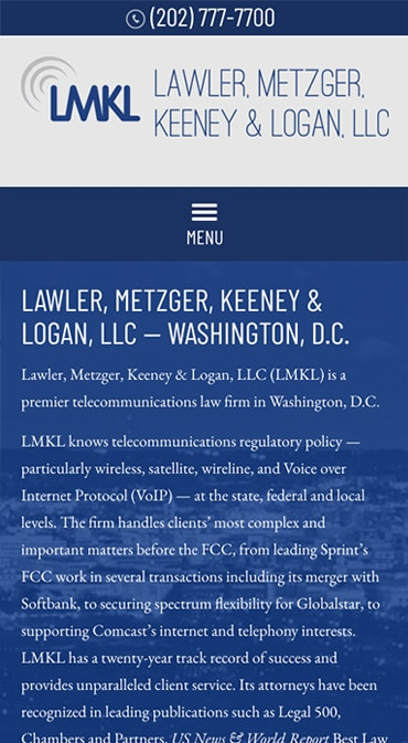 Responsive Mobile Attorney Website for Lawler, Metzger, Keeney & Logan, LLC