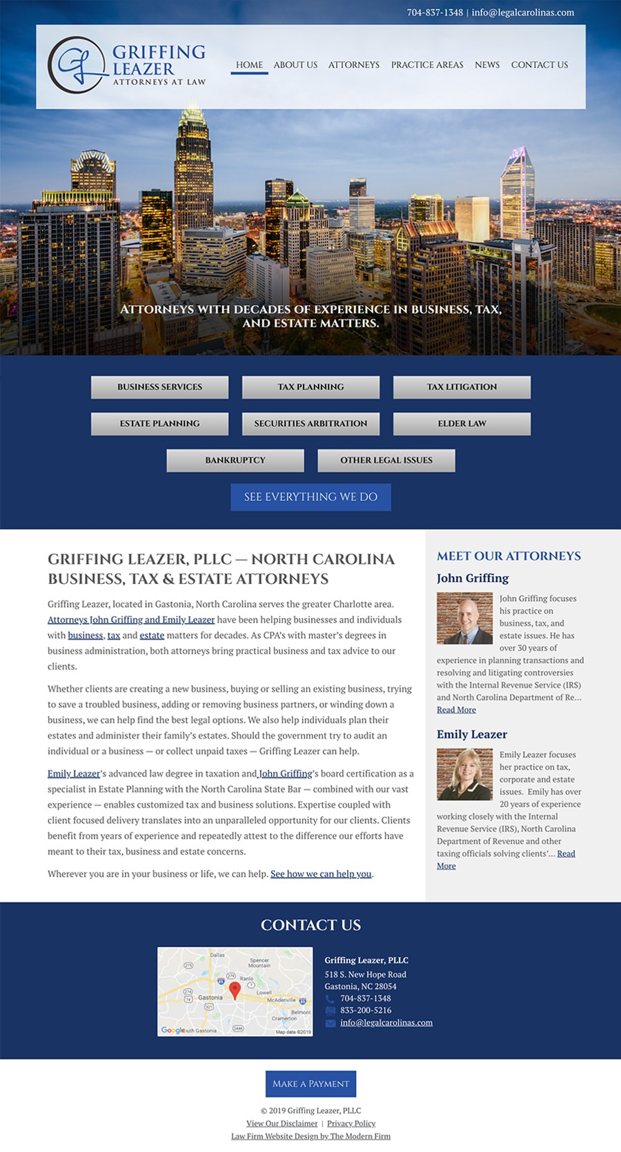 Law Firm Website Design for Griffing Leazer, PLLC